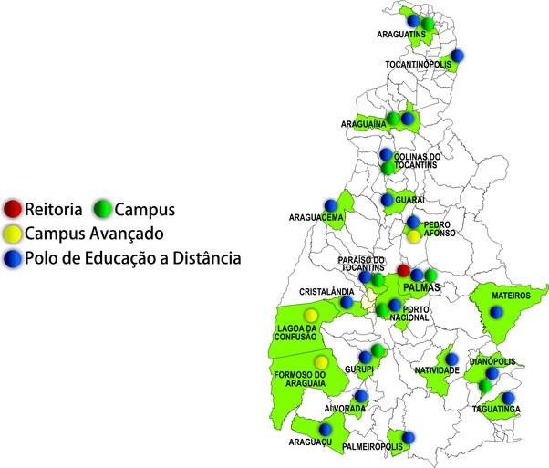 Mapa das unidades e polos ead