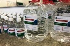 Pra cego ver: vários frascos, grandes e pequenos, preenchidos com conteúdos de álcool em gel e descrição do produto à frente. Fim da descrição
