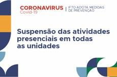 """Imagem com texto """"COVID-19 CORONAVÍRUS. IFTO adota medidas de prevenção. Suspensão das atividades presenciais em todas as unidades."""
